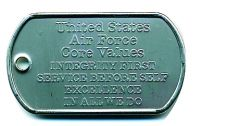 ARMY/AIR FORCE VALUES DOG TAG