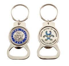 Bottle Opener Magnet Key Ring w/ Steel Navy Coin