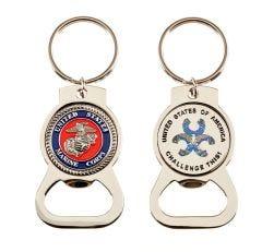 Bottle Opener Magnet Key Ring w/ Steel Marine Coin